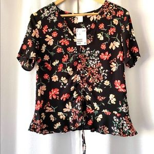 H&M Floral Print Popover Top NWT Size 6